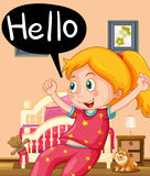 Little girl saying hello in bedroom Royalty Free Stock Photography