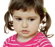 Little Girl Saying Sorry. Little Girl with Very Sorry Expression on Her Face Royalty Free Stock Photography