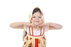 Little girl in a scarf dance. Stock Photos