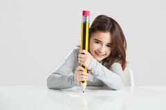 Little girl in the school Stock Photo