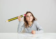 Little girl in the school Stock Image