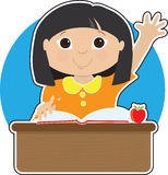 Little Girl at School Asian. A little Asian girl is raising her hand to answer a question in school - there is a book and an apple on her desk Stock Image