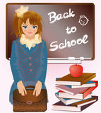 Little girl with school bag and books Stock Images