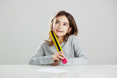 Little girl in the school Stock Image