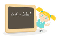 Little girl and school blackboard Royalty Free Stock Photo