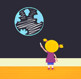 Little girl in school painting Earth. Cute little painter girl. Vector Illustration Stock Image