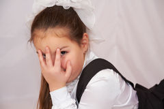 Little girl in school uniform. Royalty Free Stock Images