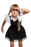 Little girl in school uniform Stock Photos