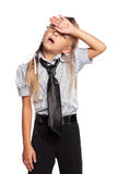Little girl in school uniform Royalty Free Stock Images