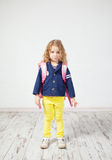 Little girl with schoolbag Royalty Free Stock Photo
