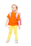 Little girl with schoolbag Stock Photos