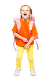 Little girl with schoolbag Stock Image