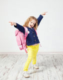 Little girl with schoolbag Royalty Free Stock Image