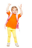 Little girl with schoolbag. Happy child on white Stock Photos