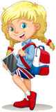 Little girl with schoolbag and tablet Royalty Free Stock Photos