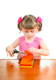 Little Girl with Scissors Stock Photos