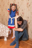 Little girl scold her  mother. Angry little girl scold her  mother Stock Images