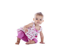 Little girl scooting Stock Photo