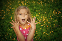 Little girl screaming Royalty Free Stock Image