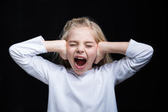 Little girl screaming Royalty Free Stock Images