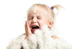 Little girl screaming over white Stock Images