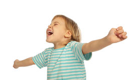 Little girl screaming, stretched hands. On white Stock Images