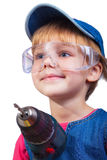 Little girl with screwdriver Royalty Free Stock Photo