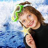 Little girl - scuba diver Stock Photography