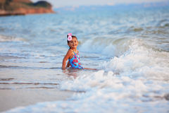 Little girl in the sea Royalty Free Stock Image