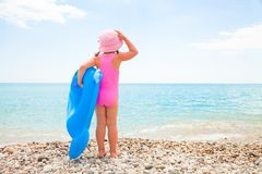 Little girl and sea Royalty Free Stock Photos