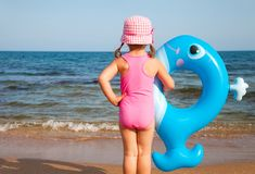 Little girl and sea Stock Image