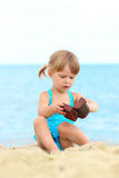 Little girl on the  sea Stock Image