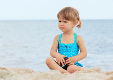 Little girl  on the sea Stock Photography