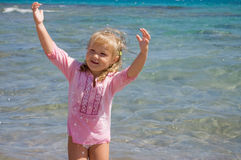 The little girl on sea coast Stock Photography