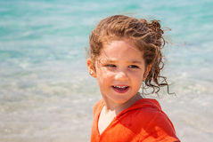 Little girl and the sea stock image