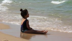 Little girl and sea stock video