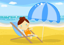 Little girl seated on a deckchair in front of sea. Illustration about a cute little girl seated on a deckchair under the sun on the beach at seaside Royalty Free Stock Photography