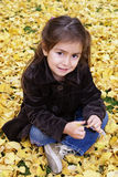 Little girl seating outdoor in autumn. Little girl smiling seating over yellow autumn leaves Stock Photos