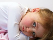 Little girl with security blanket. Little girl holding her security blanket Royalty Free Stock Photos