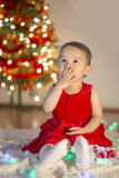 Little girl sending kisses. For everyone at Christmas stock image