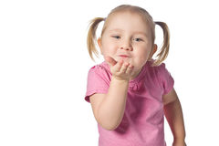 Little girl sends kiss Stock Images