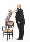 Little Girl and Servant in Tuxedo Have Fun Royalty Free Stock Photo