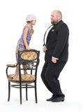 Little Girl and Servant in Tuxedo Have Fun Royalty Free Stock Images