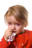 Little girl with a severe flu stock photo