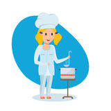 Little girl in shape of chef, stir and taste soup. Children choose a profession. A beautiful little girl in the shape of a chef with a bucket in her hands, stir Stock Photography