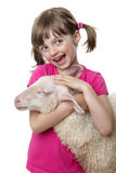 Little girl with a sheep Royalty Free Stock Image