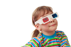 Little girl in shirt and anaglyph glasses Stock Photos