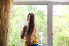 Little girl in shirt and blue shorts washes the windows at home. Daughter with a cat wash the window royalty free stock images
