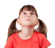Little girl in a shirt with tails Royalty Free Stock Photos
