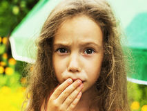 Little girl is shocked and surprised Stock Images